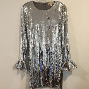Silver sequin dress with ruffle end sleeve detail